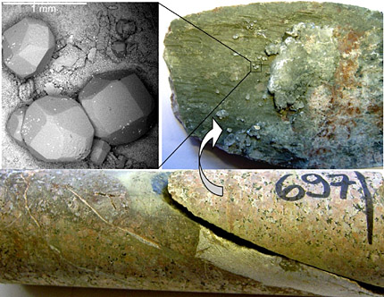 SEM-image (upper left) and photographs of an open fracture carrying euhedral calcite.