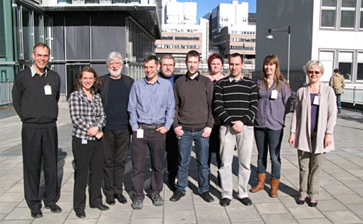 REDUPP participants present at the kick-off meeting, from left to right:  Peter Oppeneer, Lena Z. Evins, Christopher Hall, Neil Hyatt, Seppo Kasa, Martin Stennet, Marjut Vähänen, Pablo Maldonado, Emmi Myllykylä, Kaija Ollila