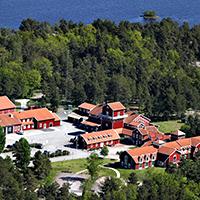 Flygbild över Äspölaboratoriet. Foto: SKB.