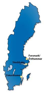 Sverigekarta med orter markerade.