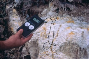 Den naturliga cementen gör vattnet alkaliskt (högt pH).